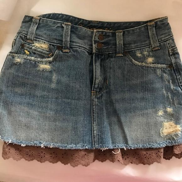 9b15cf3a42 Abercrombie & Fitch Dresses & Skirts - Abercrombie Distressed Denim Mini  Skirt 2, lace